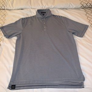 Peter Millar navy and white striped golf polo L